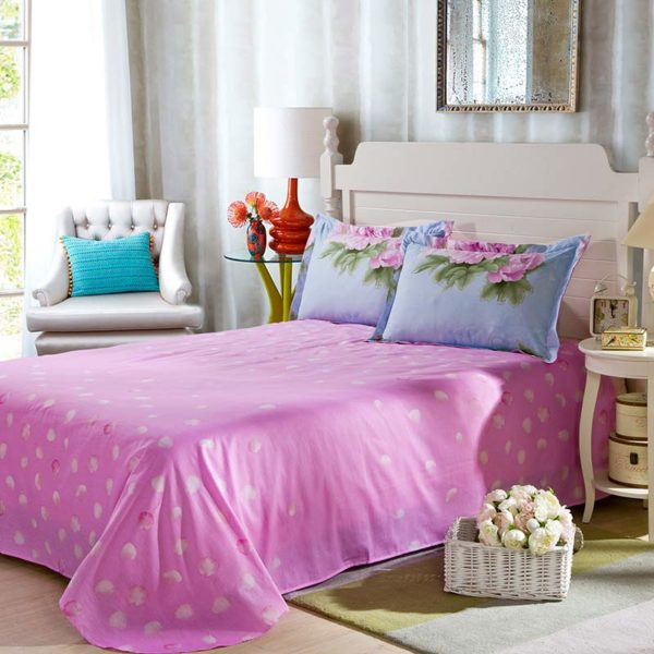 Awesome Cotton Bedding Set in Blue And Pink 3 600x600 - Awesome Cotton  Bedding Set in Blue And Pink