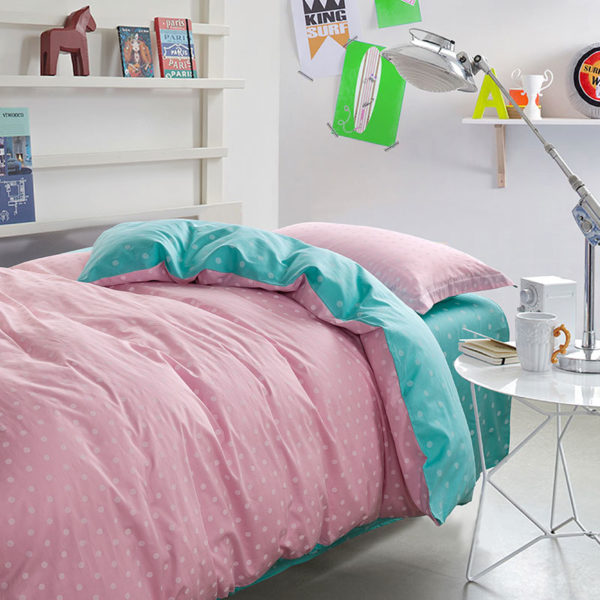 Baby Pink and light Blue Dotted Cotton Bedding Set 1 600x600 - Baby Pink and light Blue Dotted Cotton Bedding Set