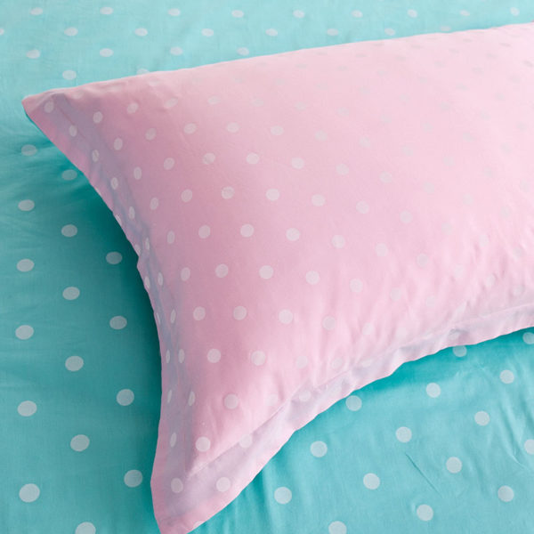 Baby Pink and light Blue Dotted Cotton Bedding Set 4