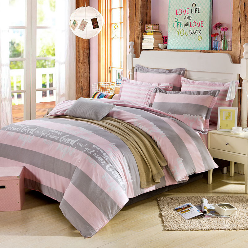 Charming Beautiful Dull Grey And Pink Cotton Bedding Set 1 600x600   Beautiful Dull  Grey And Pink