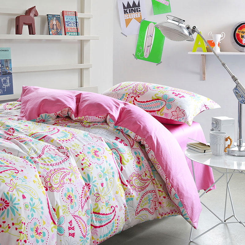 pink and white bedroom set bright pink and white paisley cotton bedding set 19466