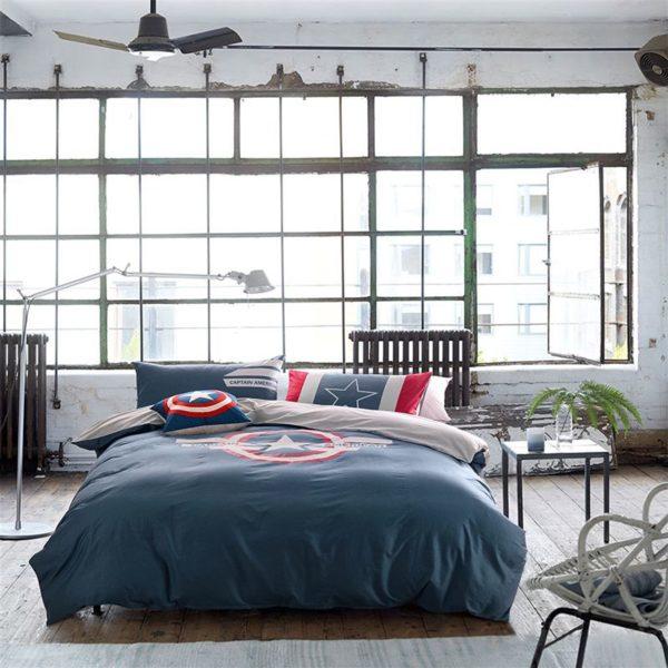 Captain America Bedding Set Queen Size For Teen Boys Bedroom Decor