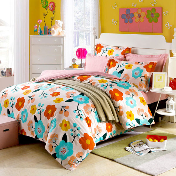 Charming Floral Cotton Bedding Set 1 600x600 - Charming Floral Cotton Bedding Set