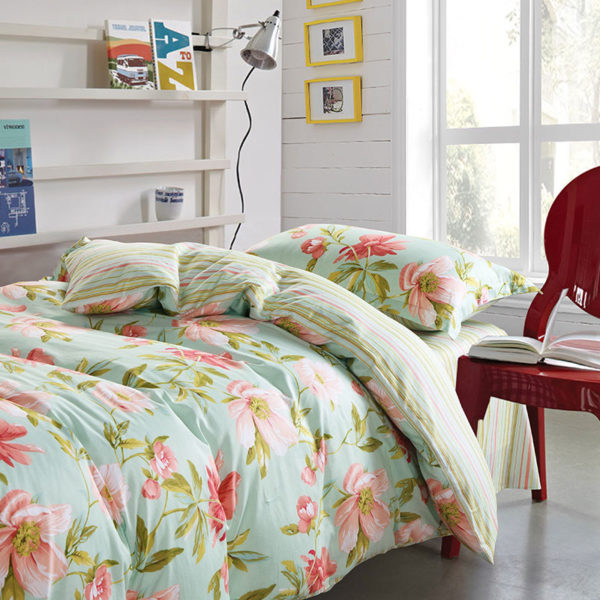 Charming Light Blue and Pink Floral Cotton Bedding Set 1 600x600 - Charming Light Blue and Pink Floral Cotton Bedding Set
