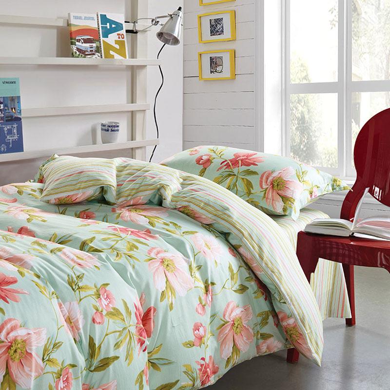 charming light blue and pink floral cotton bedding set ebeddingsets. Black Bedroom Furniture Sets. Home Design Ideas