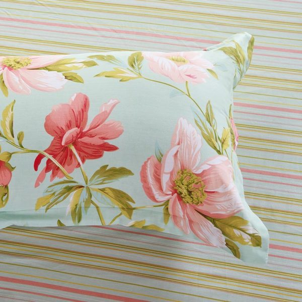 Charming Light Blue and Pink Floral Cotton Bedding Set 3 600x600 - Charming Light Blue and Pink Floral Cotton Bedding Set
