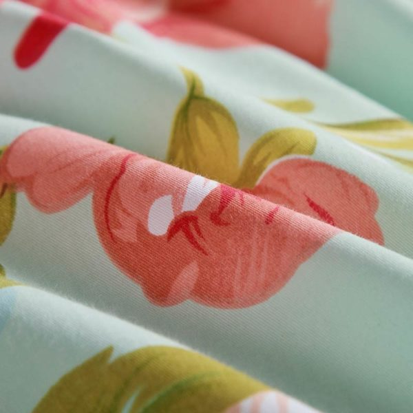 Charming Light Blue and Pink Floral Cotton Bedding Set 5 600x600 - Charming Light Blue and Pink Floral Cotton Bedding Set