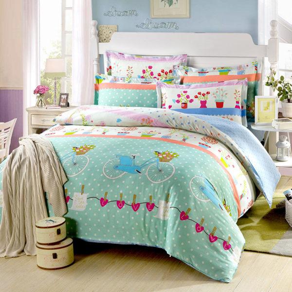 Chic Light Green Cotton Bedding Set 1