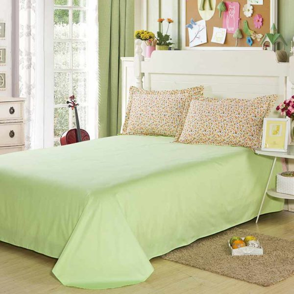 Chic White And Light Green Cotton  Bedding Set