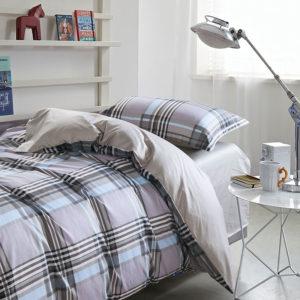 Classic Gray Checkered Cotton  Bedding Set