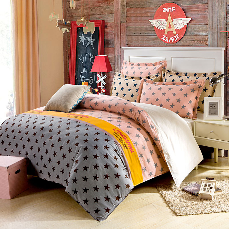 Classy Light Grey And Pink Cotton Bedding Set Ebeddingsets