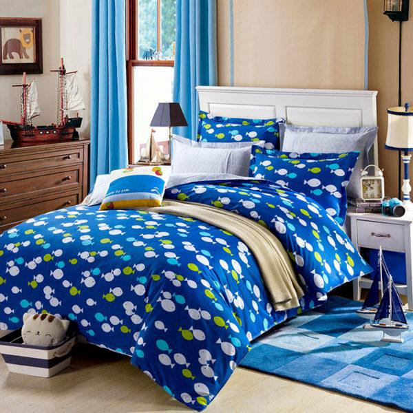 Cool Aqua Cotton Bedding Set 1 600x600 - Cool Aqua Cotton  Bedding Set
