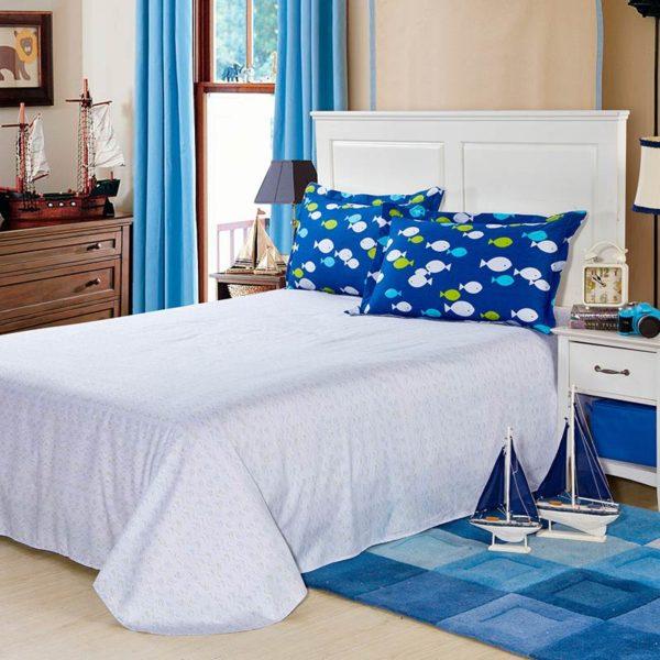 Cool Aqua Cotton Bedding Set 4 600x600 - Cool Aqua Cotton  Bedding Set