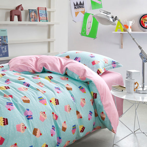 Cute Light Blue and Pink Cupcake themed Cotton  Bedding Set