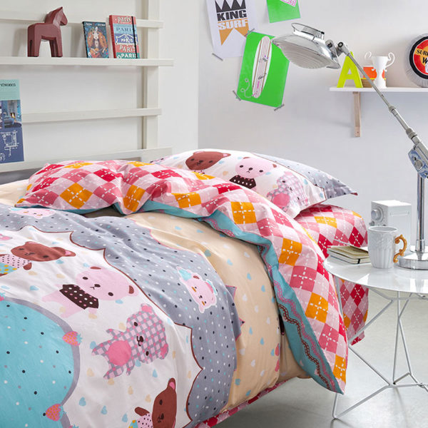 Cute and Colorful Teddy Bear Cotton Bedding Set 1 600x600 - Cute and Colorful Teddy Bear Cotton Bedding Set