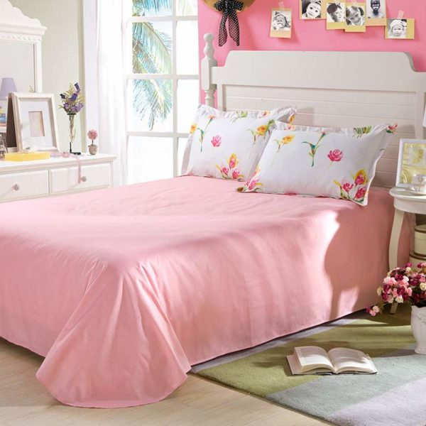 Delicate Pink And White Floral Cotton Bedding Set 4