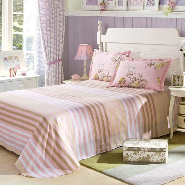 Delightful Stripes And Flower Cotton Bedding Set 4 600x600 - Delightful Stripes And Flower  Cotton  Bedding Set