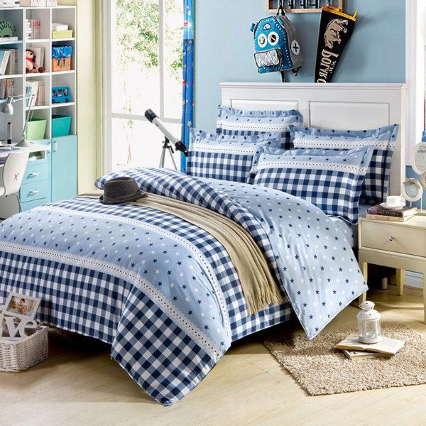 Elegant Blue Cotton Bedding Set 2 600x600 - Elegant Blue Cotton  Bedding Set