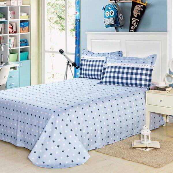 Elegant Blue Cotton Bedding Set 5 600x600 - Elegant Blue Cotton  Bedding Set
