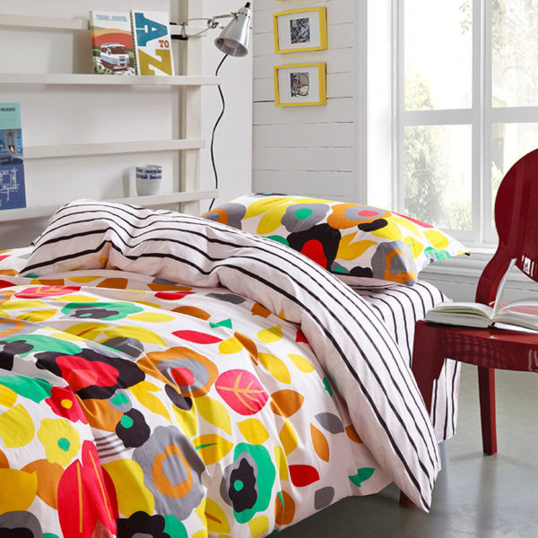 Elegant Red, Green and stripped Cotton  Bedding Set