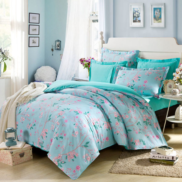 Enchanting light and dark turquoise Cotton Bedding Set 1 600x600 - Enchanting  light and dark turquoise Cotton  Bedding Set