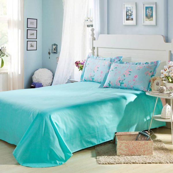 Enchanting light and dark turquoise Cotton Bedding Set 5 600x600 - Enchanting  light and dark turquoise Cotton  Bedding Set
