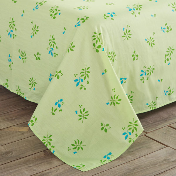 Enthralling sea green and cherry pattern Cotton Bedding Set 5