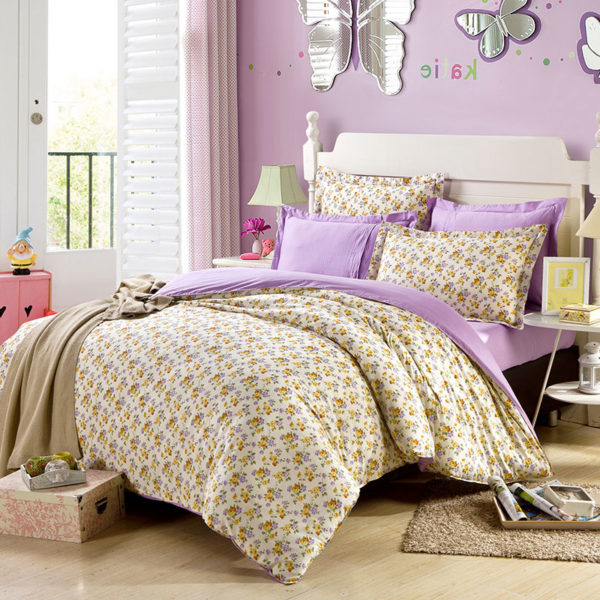 Exquisite Lilac And Brown Cotton Bedding Set 1