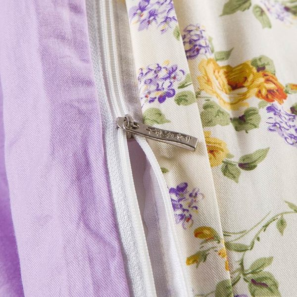 Exquisite Lilac And Brown Cotton Bedding Set 2
