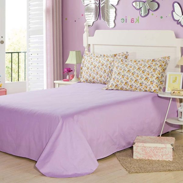 Exquisite Lilac And Brown Cotton Bedding Set 5