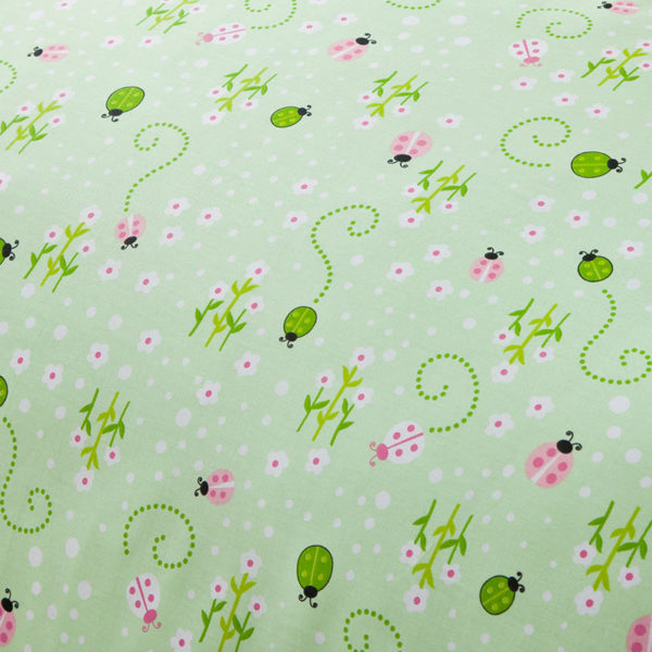 Eye catching Green And Pink Cotton Bedding Set 3