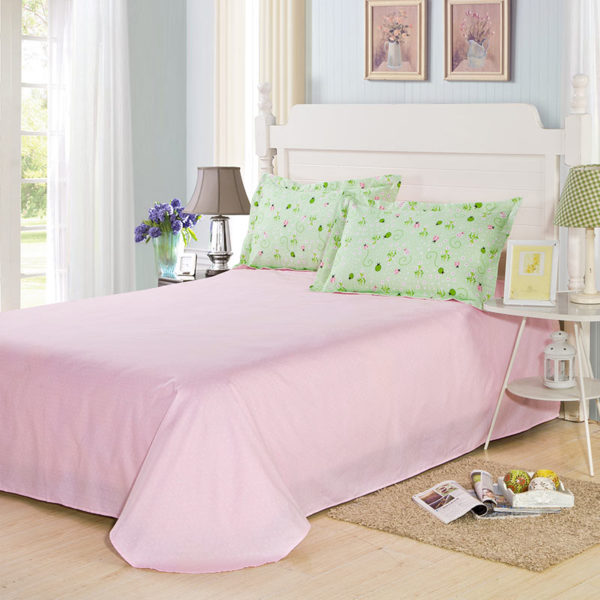 Eye catching Green And Pink Cotton Bedding Set 4