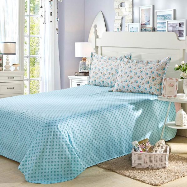 Fabulous White And Turquoise Cotton Bedding Set 4 600x600 - Fabulous White And Turquoise Cotton  Bedding Set
