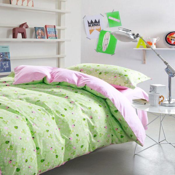 Graceful Light Green Floral Cotton Bedding Set 2 compressed 600x600 - Graceful Light Green Floral Cotton  Bedding Set