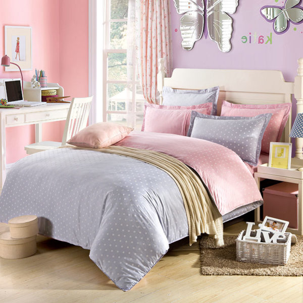 Graceful Purple And Pink Cotton Bedding Set 1 600x600 - Graceful Purple And Pink Cotton  Bedding Set