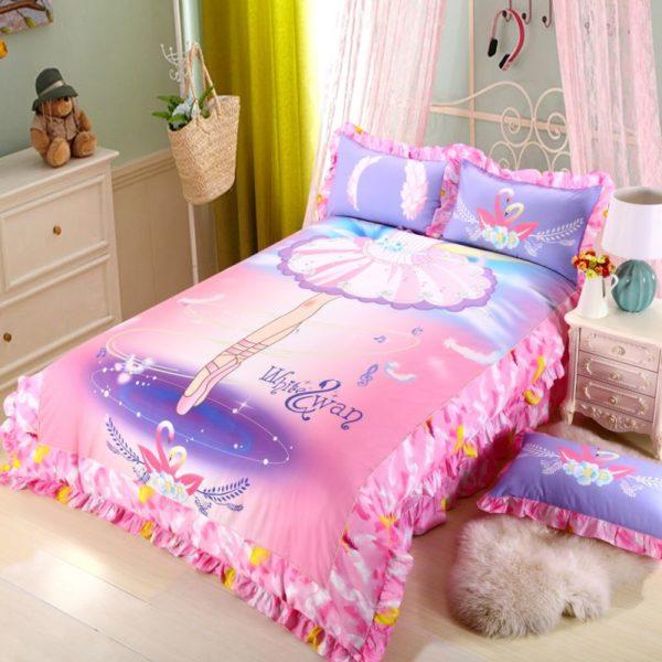Kids Pink White Swan Princess Girls Comforter Set 3
