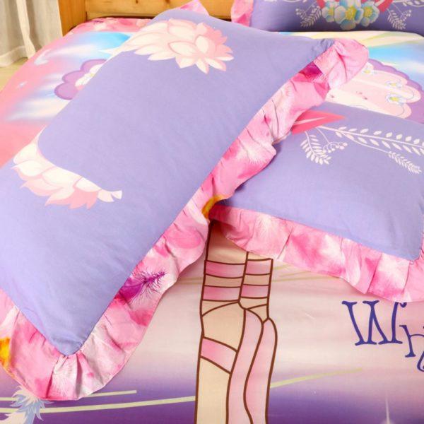 Kids Pink White Swan Princess Girls Comforter Set 6