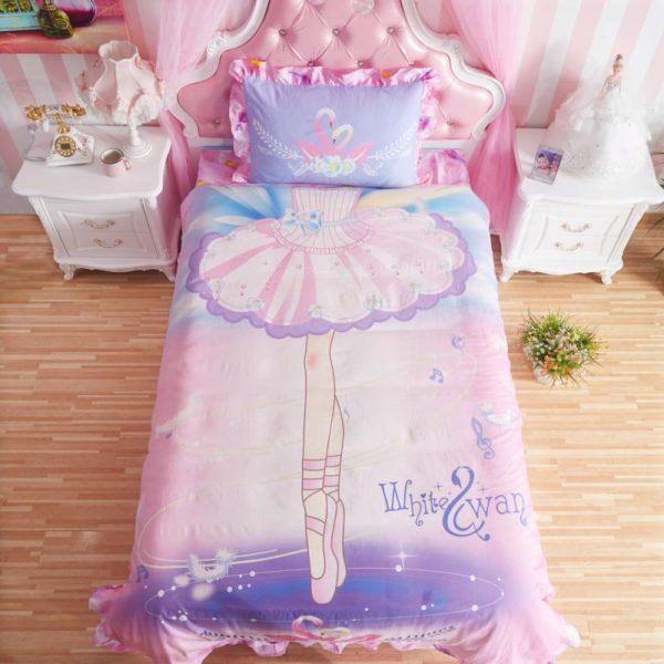 Kids Pink White Swan Princess Girls Comforter Set twin