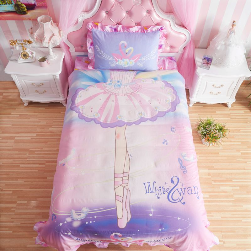 Exceptional Kids Pink White Swan Princess Girls Comforter Set Twin 600x600   Kids Pink  White Swan Princess