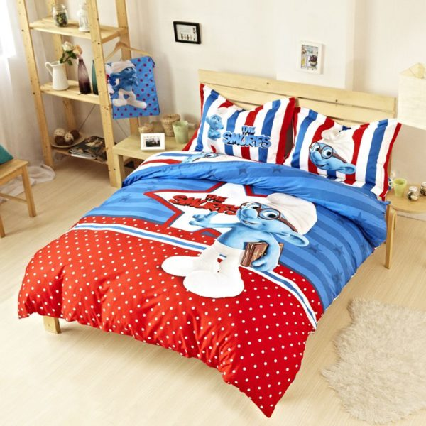 Kids Smurfs Bedding Set Twin Queen King Size