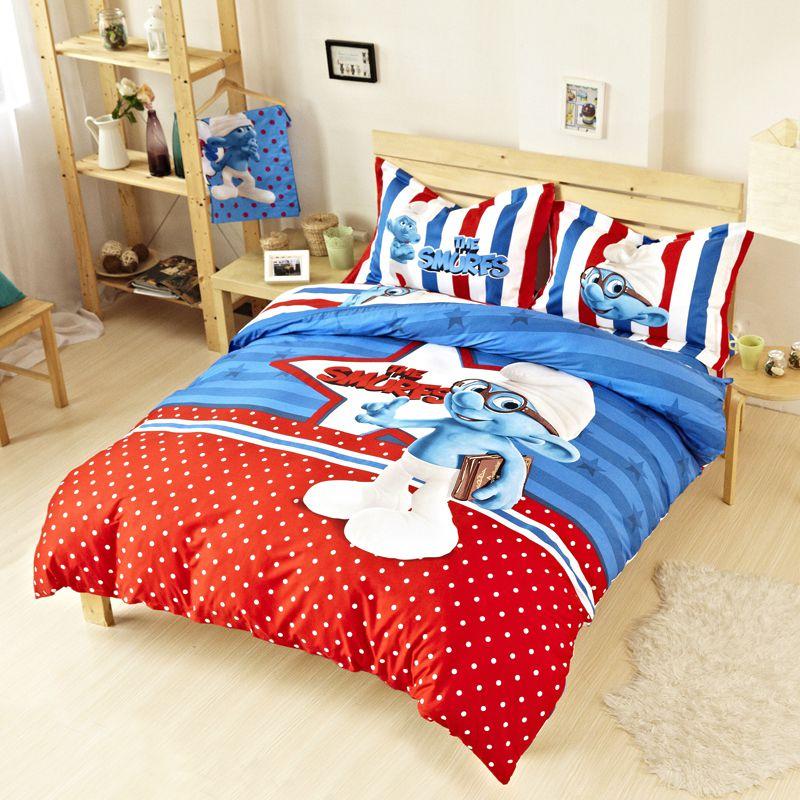 kids smurfs bedding set twin queen king size ebeddingsets. Black Bedroom Furniture Sets. Home Design Ideas