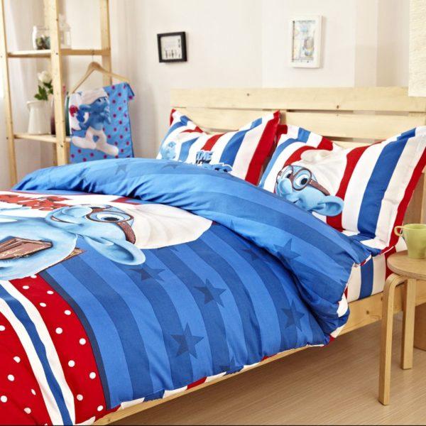 Kids Smurfs Bedding Set Twin Queen King Size 3