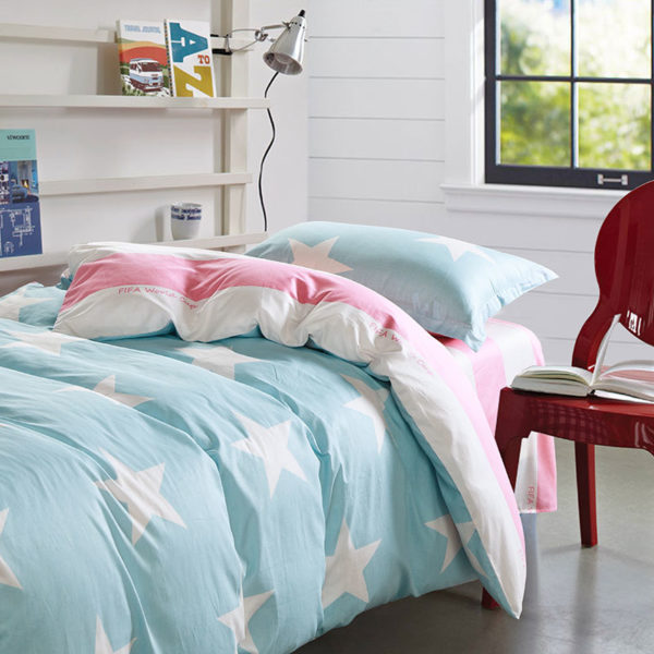 Light Blue and Pink FIFA Cotton Bedding Set
