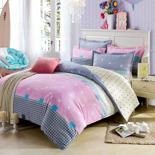 Light Pink And White Exclusive Cotton Bedding Set 1