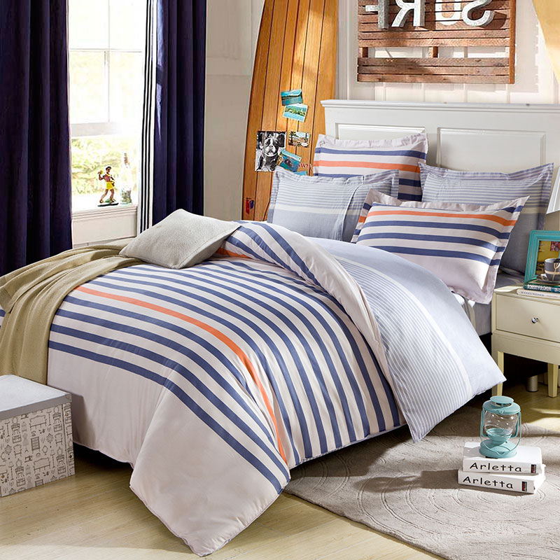 Lovely Blue White And Orange Cotton Bedding Set