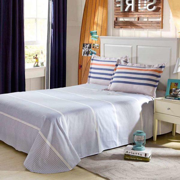 Lovely Blue White And Orange Cotton Bedding Set 3