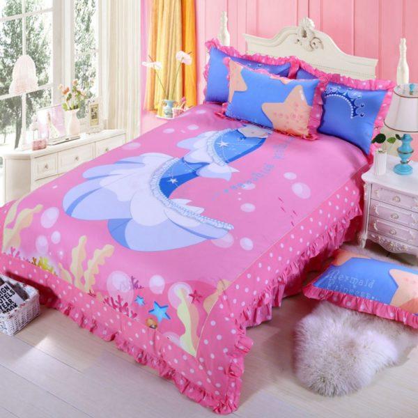 Mermaid Princess Teen Girls Rose Bedding Set 2