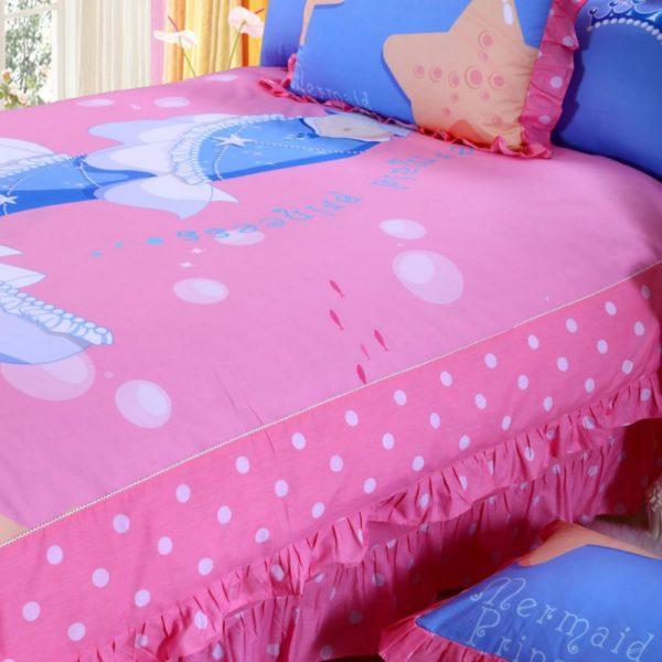 Mermaid Princess Teen Girls Rose Bedding Set 4