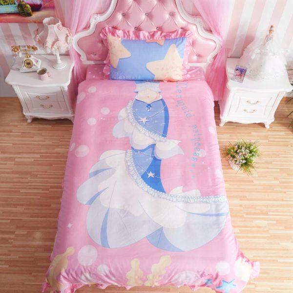 Mermaid Princess Teen Girls Rose Bedding Set twin
