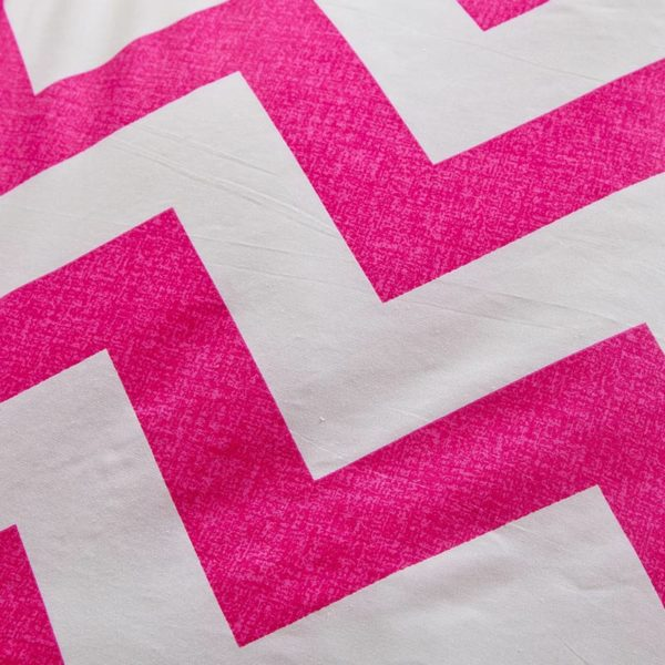 Pink and White Abstract Cotton Bedding Set 3